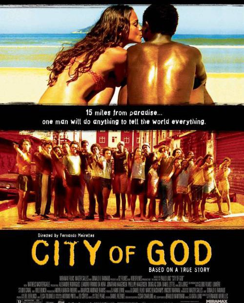 How does the visual style of 'City of God' draw attention to social realities in Brazil?