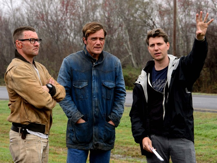 Left to right: Joel Edgerton, Michael Shannon and Jeff Nichols on the set of Midnight Special