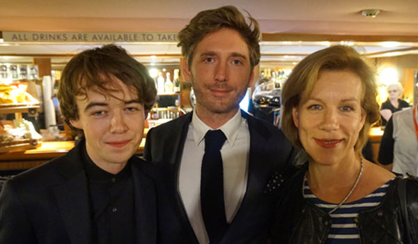 Left to right: Alex Lawther with Departure director Andrew Steggall and co-star Juliet Stevenson PHOTO: Peccadillo