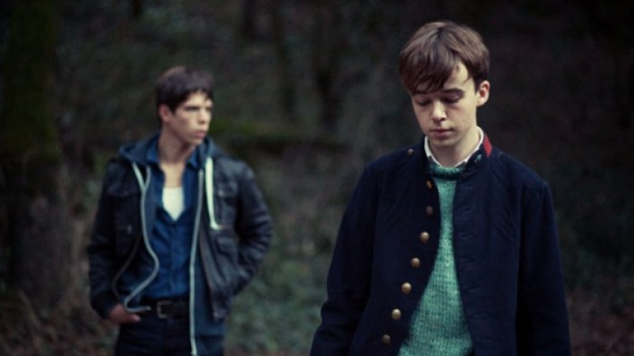 Alex Lawther (right) with Phénix Brossard (left) in Departure