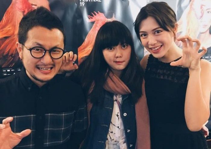 Left to right: Giddens Ko, FEFF Campus journalist Paige Lim and Mon Mon Mon Monsters star Eugenie Liu