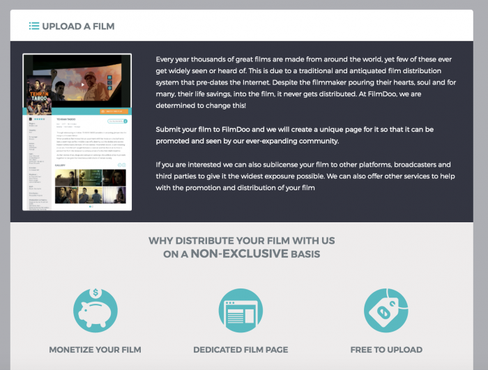 FilmDoo content upload page
